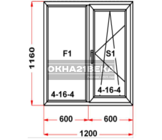 Окно ПВХ модель 04