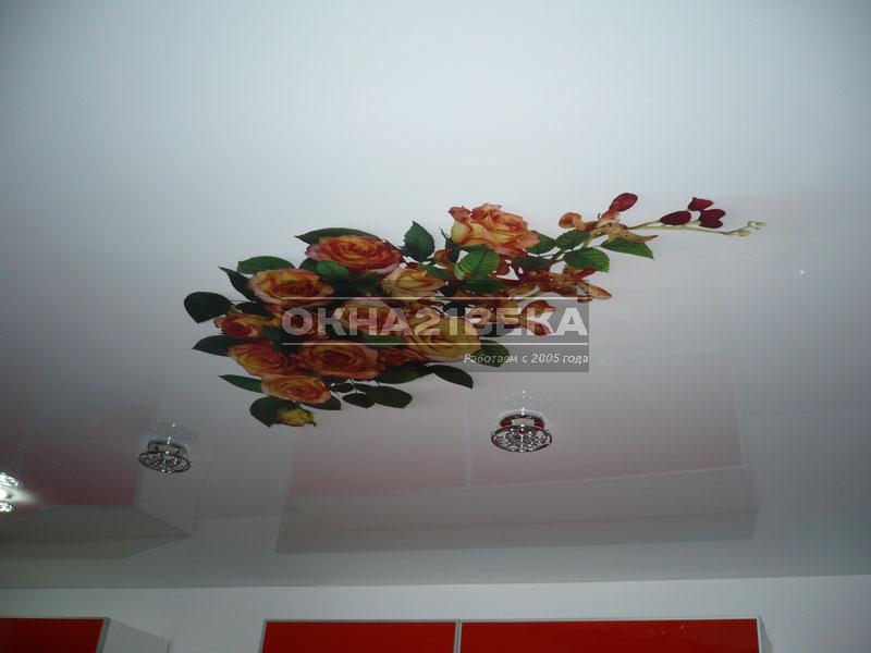 Фото обои для потолков цветы